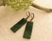 African Jade Earrings , dark froest green semiprecious gemstone jewelry