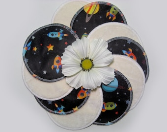 Nursing pads - Space - LIMITED EDITION - Organic Bamboo Velour and PUL - Ready to ship