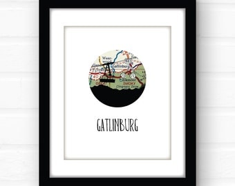 Gatlinburg, Tennesee map art | Gatlinburg art | Tennessee wall decor | ski vacation souvenir | travel prints | Tennessee home decor