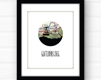 Gatlinburg, Tennesee map art | Gatlinburg art | Tennessee wall decor | ski vacation souvenir | travel prints | Tennessee home decor
