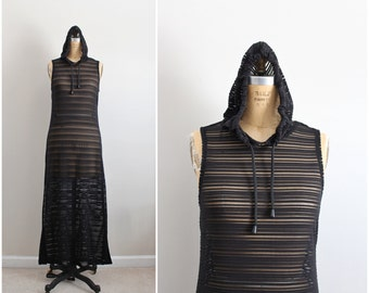 80s Black Stripes Cover Up / Black Maxi Dress / Sheer Maxi / Hodded Dress / Size S/M