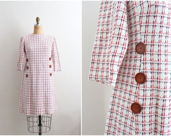 Vintage Red White and Blue Dress / Plaid Dress / 1960s dress / 60s Minidress / Size M/L