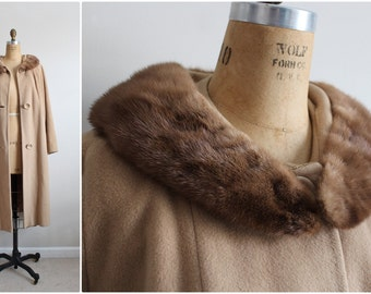 60s Rich's Camel Coat / Cashmere Mink Collar Coat / Fur Collar Coat /Camel Swing Coat/ 1960 Coat/  60s Winter Coat