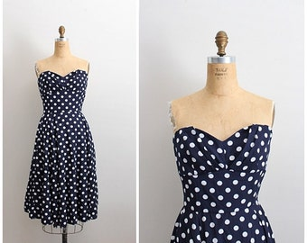 Vintage Polka Dots Strapless Dress / Full Skirt Dress/ Size Small