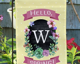 Personalized Springtime Floral Welcome Garden Flag -gfy830100112DS