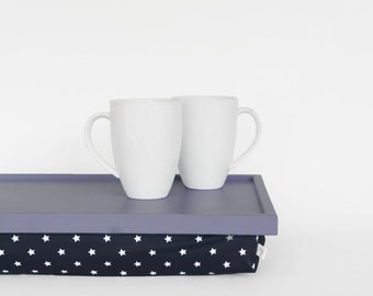 Breakfasts in bed serving tray with support pillow, lap desk - light slate blue tray,  navy with white stars print pillow