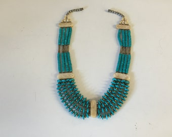 Great little summer statement necklace. Faux turquoise and bone colored beads.