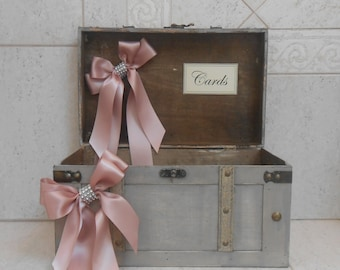 Rustic Wedding Card Trunk / Wedding Card Holder / Vintage Wedding Card Trunk / Wedding Decorations / Grey Wedding Card Box
