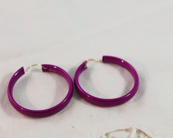 Nice Bright Pink Fashion Hoop Earrings - Pierced