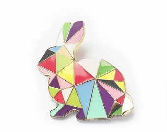 Rabbit Brooch Pin Harlequin Bunny Enamel Geometric