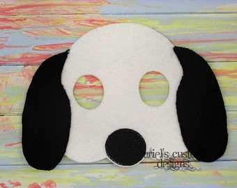 Snoopy Mask - Snoopy Costume - Dog Mask - Dog Costume  - Felt Dress Up Masks - Birthday Party Favor Halloween
