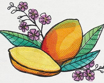 Mango Madness Embroidered Flour Sack Hand Towel