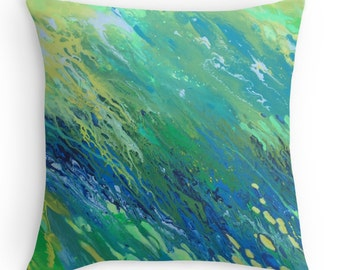 Teal abstract square cushion cover