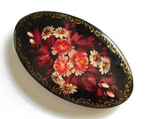 Vintage Large Russian Hand Painted Laquered Barrette Hair Clip Russian Palekh