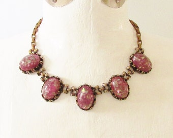 Vintage Chunky Pink Harlequin Lucite Cabochon Necklace 1940s