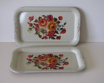 Vintage White/Cream Floral Metal TV Trays - Set of Two