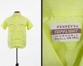 Vintage 50s Penneys NOS Shirt Yellow Cotton Linen Topflight Deadstock - Small