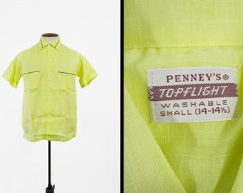 Vintage 50s Penneys NOS Shirt Yellow Cotton Linen Topflight Deadstock - Small