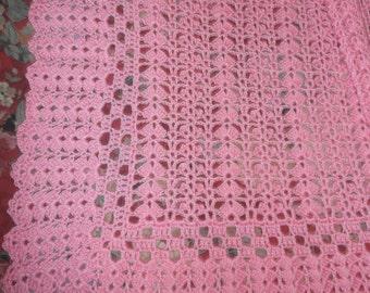 Crocheted Pink Baby Afghan (bk121)