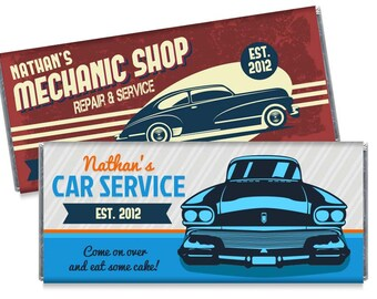 Retro Vintage Car Candy Bar Wrappers Vintage Car Personalized Birthday Candy Bar Wrapper Party Favors - Set of 12