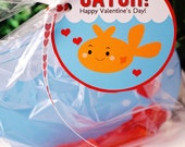 Valentine Fish Bowl and Hearts TWO Card Craft Digital Printable U PRINT- Instant Download