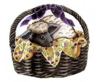 Vintage Melissa Shirley Needlepoint Canvas Lamb Sheep Basket Hand Painted Needlepoint 201-A Rare