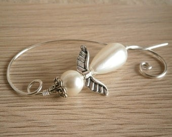 Angel Shawl Pins, Scarf Pin, White Brooch, Wire Jewelry, Christmas Jewelry, Shawl Pin Accessory, Handmade Jewelry Gift