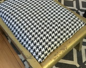 "Small stool. 15"" x 8"" houndstooth fabric. Gilded wood"
