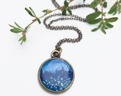 Stars and Fireflies in the Night Sky Bronze Necklace