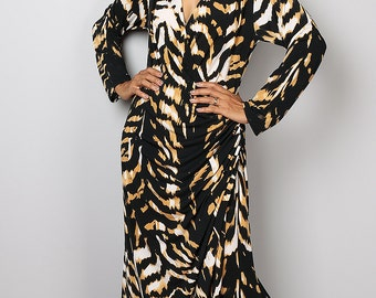 Maxi Dress / Cross Front Evening Gown / Dress with Zebra Print : Funky Elegant Collection No.8