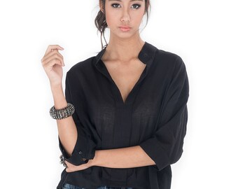 Black Blouse with Mandarin Colar / Women's shirt - Gauze Cotton Blouse : Simply Touch Collection No.1