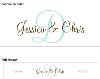 50 Custom Glossy Waterproof Wedding Water Bottle Labels - many designs to choose from - change designs to any color or wording WW-092