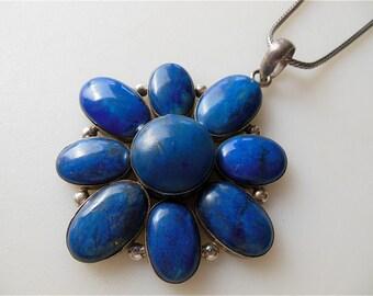 "Huge 3"" Blue Lapis Pendant  Sterling Silver Large Lapis Lazuli Pendant with Bale Large Cluster Flower Gemstone Dark Blue Lapis FREE US ShiP"