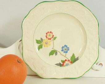 "English Brambleberry Plate - 8"" Square Plate - Decorative English Primitive Dish - Blue, Rust and Yellow Floral Dish"