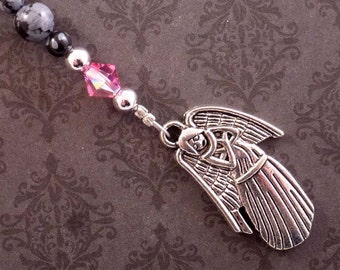 Beaded Angel Bookmark, Christian Bookmarker, Pink Swarovski Crystal, Obsidian, Religious Gift