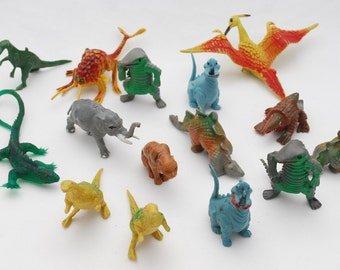 Vintage 1970's Lot of 15 Vintage Plastic Dinosaurs -  Solid Molded Plastic Prehistoric Figures - Natural Realistic Colors - Hong Kong