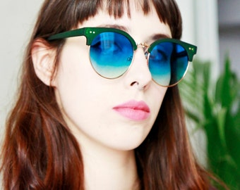 Flat Lensed Ombre Clubmaster Sunglasses