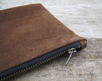 Repurposed Brown Suede Zippered Pouch