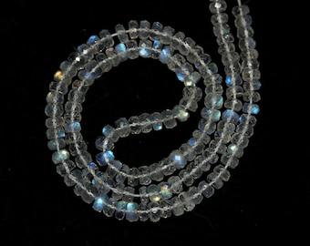 Rainbow Moonstone Micro Faceted Rondelles Set of 5 Blue Flash Translucent White Semi Precious Gemstones