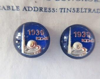 Vintage Antique Blue 1939 World's Fair Glass Buttons Ornaments Pair Jewelry RARE