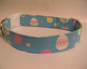 Handmade Cotton Dog Collar - Easter Eggs on Blue