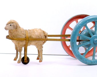 Wooly Sheep 3 Wheeled Bell Ringer Tin Pull Toy Germany Antique Putz 1900s