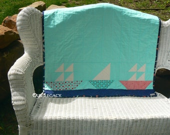 Sailboats cotton baby quilt, floor, play quilt, blue boy quilt, shower gift.