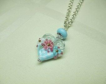 Polka Dot Heart Lampwork Bead Pendant Necklace in Pastel Blue