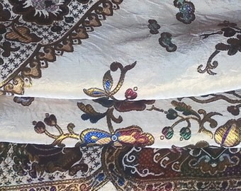 "Vintage Gypsy Bedspread, Italian Silk Embroidered, 76"" w. x 102"" l. , Twin"