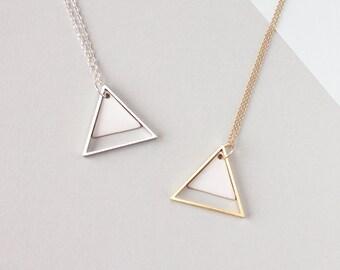 Large Two Triangle Geometric Necklace (White) - Modern Handmade Jewellery