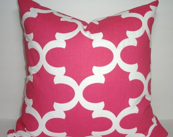 INVENTORY REDUCTION Hot Pink & White Moroccan Geometric Pillow Covers Decorative Throw Pillow Size 16x16