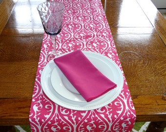 Wedding Table Decor Table Runner Table Top Candy Pink Damask Table Runner Fushia Pink Runner