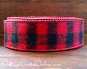 """Wired Ribbon, 1 1/2"""" Red and Black Buffalo Plaid Flannel - TEN YARD ROLL - """"Buffalo 9"""" Craft Decor Wire Edged Christmas Ribbon"""