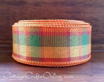 "Fall Plaid Wired Ribbon, 1 1/2"", Bright Orange, Golden Yellow, Green, Cranberry - TEN YARD ROLL - ""Knit Multi"", Thanksgiving Ribbon"